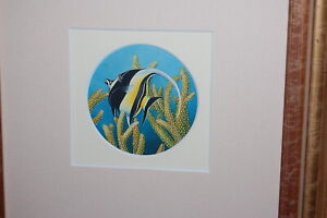 Original vintage watercolour painting of a tropical reef fish (crowned scythe).