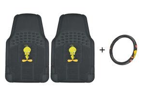 2 Pc Rubber Floor Mats + Steering Wheel Cover Tweety Bird Combo Gift Set Pack
