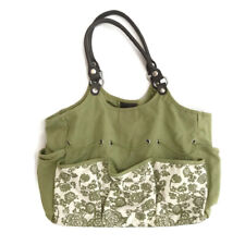 "Knitting, Crafting, Crochet Storage Tote Bag, Green Floral 15""L x 13""H x 5""D"