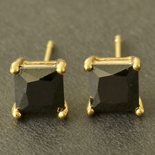 Yellow Gold Filled Black Onyx Mens Square Fashion Small Stud Earrings Lot
