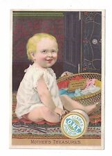 "Clark's Mile-End Spool Cotton Cute Baby ""Mother's Treasures"" Trade Card"