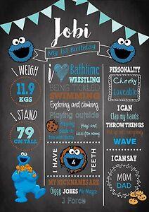 1st 2nd Birthday Milestone Chalkboard Birthday Print Cookie Monster Sesame St A4