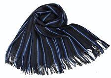 NEU!!! XXL Strickschal aus 100% Merinowolle mit Fransen blau anthrazit gestreift