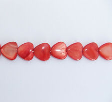 1 x Strand Red Shell Heart Shaped Beads - 15mm x 14mm Slight Seconds
