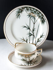 Cup Saucer Plate Trio Japanese Porcelain Kutani Green & Gold Bamboo 2 SETS