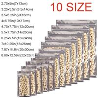 100x Assorted Sizes Glossy Mylar Foil Clear Front Silver Rear Zip Lock Pouch Bag