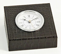 "DESK ACCESSORIES - ""GREENWICH"" DESK CLOCK IN BLACK ""CROCO"" LEATHER CASE"