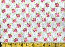 "RED ROSES ON WHITE, 100% Cotton Flannel, 30"" PIECE"