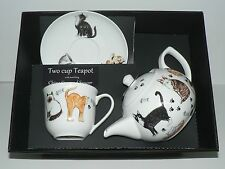 Cats 2 cup teapot,cup and saucer gift boxed. Teapot matchung china cup & saucer