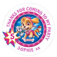 48 Personalised Party Bag Stickers Paw Patrol Skye Sweet Bag Seals 40mm Labels