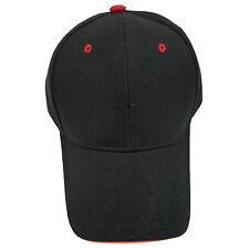 PLAIN ADJUSTABLE BASEBALL (BLACK/RED) BASEBALL Hat Cap