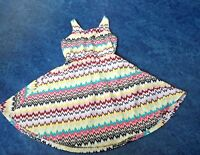 Skater Dress Chevron Multi Colored Polyester Lined Stretch Girls