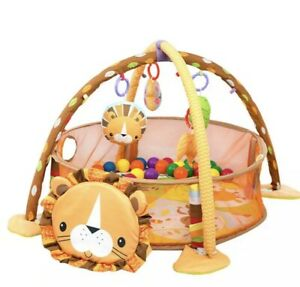 Baby Gym 3 in 1 Lion Activity Play Floor Mat Ball Pit & Toys Babies Playmat