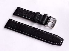 Replacement Quality Lug 20mm Black Genuine Leather Strap For All 20mm