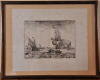 Ludolf Bakhuizen (1630-1708): Shipping in the Ij by Amsterdam, engraving