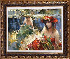 """Hand-painted Original Oil painting art knife young girl On Canvas 20""""x24"""""""