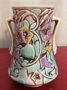 Vtg 1930s Roseville Pottery Vase Morning Glory