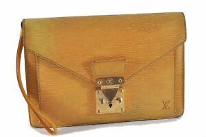 Authentic Louis Vuitton Epi Pochette Sellier Dragonne Clutch Bag Yellow LV D6980