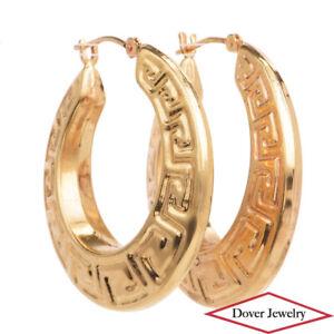 Estate 14K Gold Round Greek Key Hoop Earrings NR