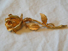 Beautiful Brooch Pin Gold Tone Large Rose Rhinestones 3 x 1 Inch NICE