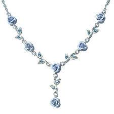 w Swarovski Crystal ~Blue Rose Flower Floral Bridal Wedding Bridesmaid  Necklace