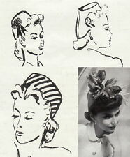 Vintage sewing pattern-unusual stylish 1940s fez hat-full size paper pieces