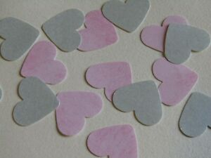 Pink Grey Confetti Wedding Heart Table Bride & Groom pack 100