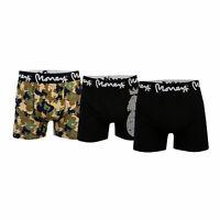 Mens Money Zambezi 3 Pack Boxer Shorts In Black- One Plain, One Camo, One Logo-