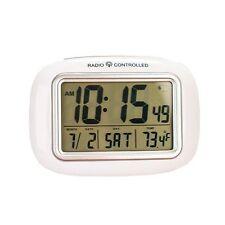 New EasyComforts White Large Screen Radio Atomic Alarm Clock Digital Screen Face