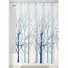 NEW InterDesign Forest Shower Curtain Blue and Gray 72 x 72 Inch FREE SHIPPING
