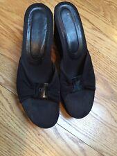 Donald J. Pilner Black Wedge Sandal Heels Suede Cork Elastic Sz 8