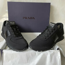 Prada Milano Nylon & Leather Trainers, Black, Size UK 8.5, EU 42.5, Brand New