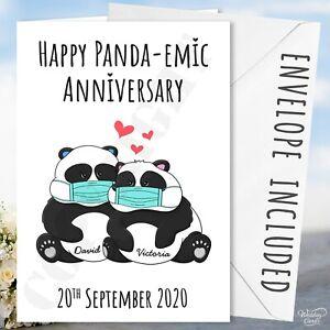 Happy Pandemic Anniversary Card Pandas Panda Lockdown Gift Present Hazmat Hazard