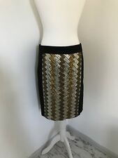 Monsoon Gold Sequin Metallic Pencil Skirt Size 12 Party