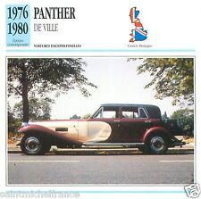 PANTHER DE VILLE 1976 1980 CAR VOITURE GREAT BRITAIN GRANDE BRETAGNE CARD FICHE