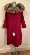 50s-60s Vintage Cherry Red Coat w/ Fox Fur Collar NOS NWTS Dead Stock