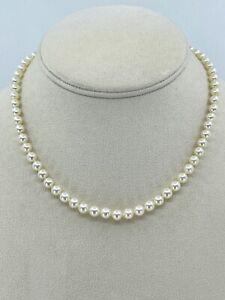 14K White Gold Filigree Akoya Saltwater Pearl Necklace Choker 15 Inch Vtg
