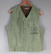 Vintage WWII US Navy Seabees Alpaca Wool Lined Vest OD Deck Jacket N-1 USN Rare