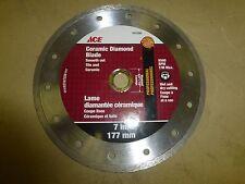 """7"""" Ace Ceramic Diamond Blade Smooth Cut Tile and Ceramic 8500RPM T/M Max 7617830"""