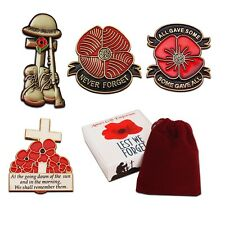 4x Red Poppy Badge Set Poppy Badges Collection for Remembrance Day WW1 WW2 Gift