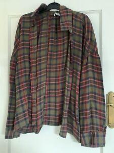 Pull & Bear Checked Blouse Shirt top oversized Khaki & Red Size EU 30 8/10