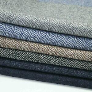 Herringbone Tweed 50% Wool Blend Upholstery Fabric Sofa Cushion Chairs 6 Colors