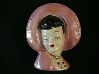 Vintage Pink Lusterware Lady in Bonnet Head Vase Wall Pocket, Excellent Item