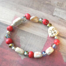 Small Beige Happy Buddha Beaded Stretch Bracelet with Mixed Beads