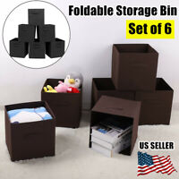 Set of 6 Foldable Fabric Storage Bins Cubby Cubes with Handles Black/Brown US