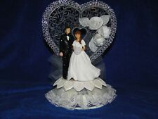 New Elegant Wedding Caketopper with Bride & Groom and decorated heart background