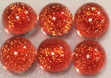 Lot of 6 XS TWINKLE CORAL Fused Glass DICHROIC Cabochons NO HOLE Beads Flat Back