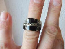 Schöner , alter Ring  ,  925 Silber mit Onyx , Perlmutt und Markasit
