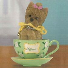 Filled with Happiness Yorkie Dog in a Teacup Figurine Bradford Exchange
