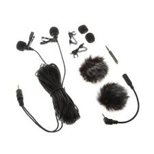 Clip-On Dual-Head Lapel Lavalier Condenser Microphone Mic for Smartphone